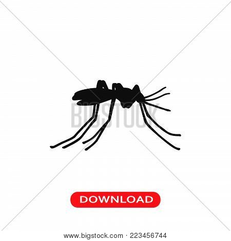 Mosquito icon vector in modern flat style for web, graphic and mobile design. Mosquito icon vector isolated on white background. Mosquito icon vector illustration, editable stroke and EPS10. Mosquito icon vector simple symbol for app, logo, UI.