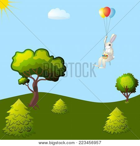 Hare with an Easter basket flying on balloons over a forest glade, vector illustration