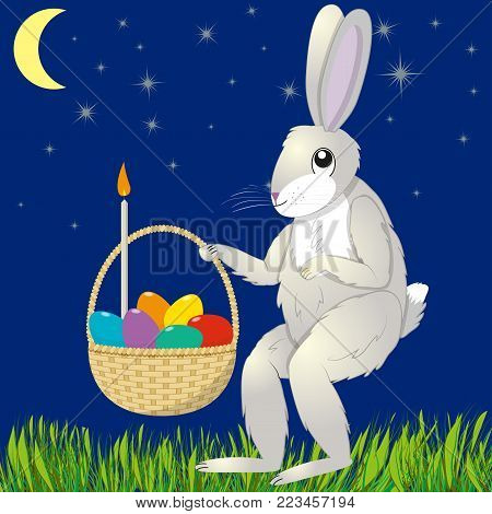 Hare with an Easter basket against the starry sky, vector illustration