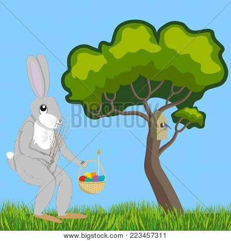 Hare with an Easter basket and a bouquet of willows walking along a forest glade, vector illustration