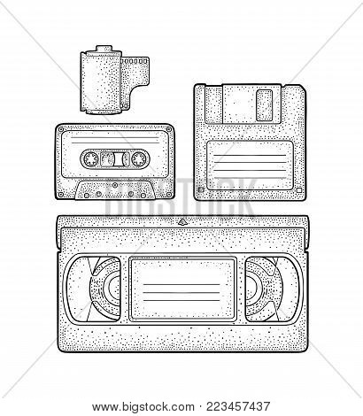 Set retro technology object. Floppy disk, photo film in cartridge, video and audio cassette. Vintage vector black engraving illustration for poster, web. Isolated on white background. Hand drawn design element