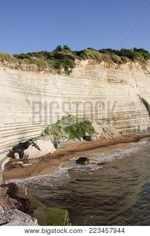 Beach Loggos, near the village of Peroulades on the island of Corfu. Greece