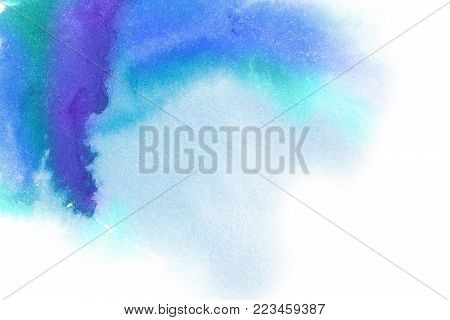 Abstract background. Hand painted watercolor splash. Splash in waves in a watercolor. White background and the blob. Place for the text. Abstract watercolor hand painted background. Blue spot.