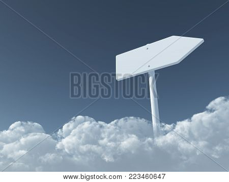 blank signpost on fluffy clouds - 3d rendering