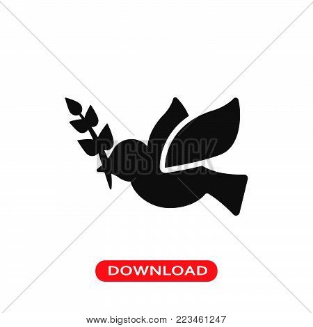 Peace dove icon vector in modern flat style for web, graphic and mobile design. Peace dove icon vector isolated on white background. Peace dove icon vector illustration, editable stroke and EPS10. Peace dove icon vector simple symbol for app, logo, UI.