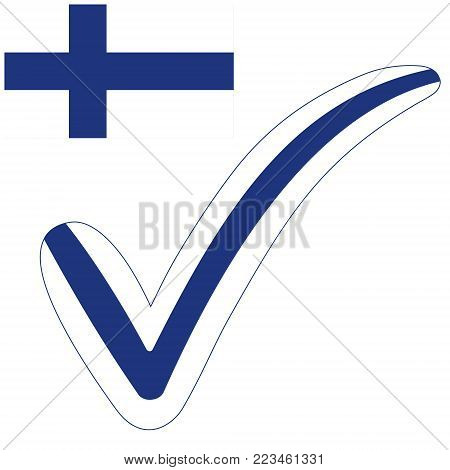 check mark style Finland Republic flag symbol elections, voting and approval, vector concept check mark Israel tick