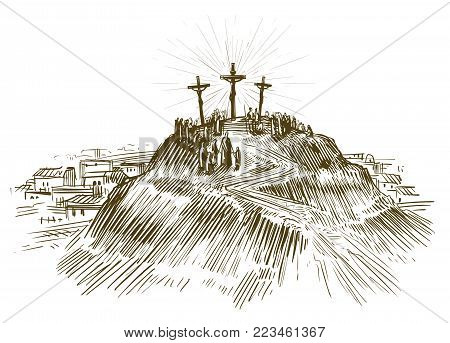Crucifixion of Jesus Christ. Sketch vector illustration isolated on white background