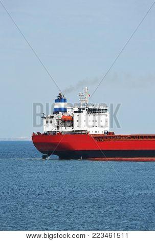 Bulk carrier ship in Odessa harbor quayside