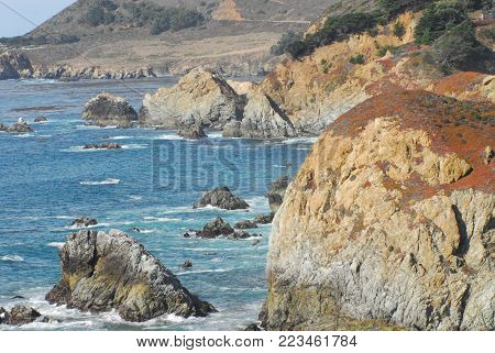 A panoramic landscape of the beautiful coastline of Marin county California at Point Reyes