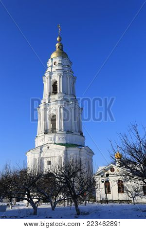 Bell tower Exaltation of the Cross Monastery. Poltava, Ukraine