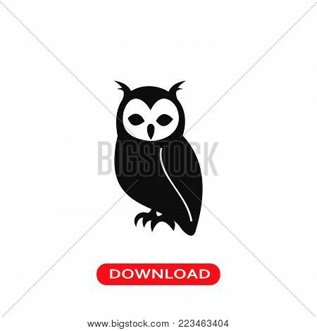 Owl icon vector in modern flat style for web, graphic and mobile design. Owl icon vector isolated on white background. Owl icon vector illustration, editable stroke and EPS10. Owl icon vector simple symbol for app, logo, UI.