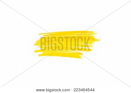 Hand Drawn Yellow Highlighter Stripes. Marker Strokes Background Template. Optimized For One Click C