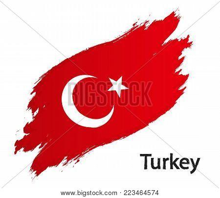 Flag of Turkey grunge style vector illustration isolated on white background