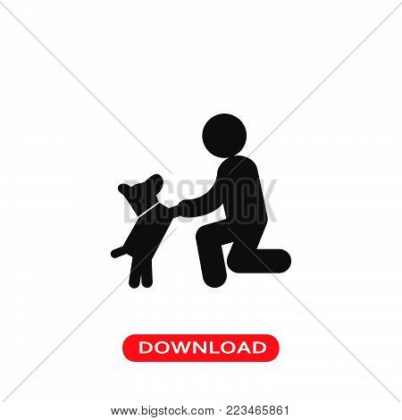 Dog in front of a man icon vector in modern flat style for web, graphic and mobile design. Dog in front of a man icon vector isolated on white background. Dog in front of a man icon vector illustration, editable stroke and EPS10. Dog in front of a man ico