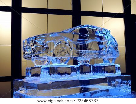 Car Model Made From Ice On The Ice Platform