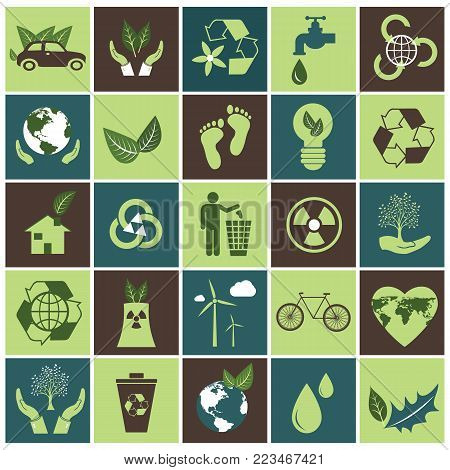 Ecology icons set on green and brown. Flat vector design.