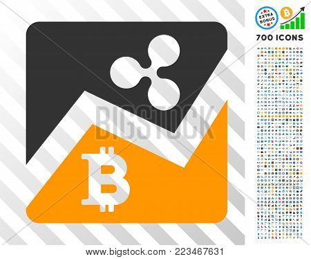 Ripple Bitcoin Exchange Market icon with 7 hundred bonus bitcoin mining and blockchain icons. Vector illustration style is flat iconic symbols designed for blockchain apps.