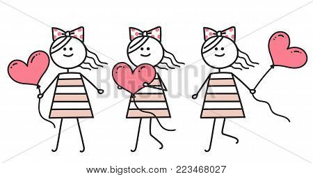 Girl in love running with pink heart. Girl running with pink balloon. Happy Valentines Card. Funny character girl. Holiday illustration.