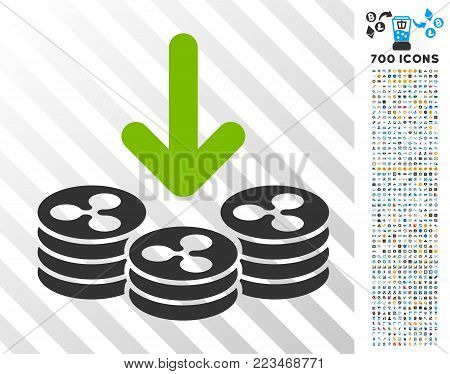 Ripple Coins Income pictograph with 7 hundred bonus bitcoin mining and blockchain clip art. Vector illustration style is flat iconic symbols designed for bitcoin software.