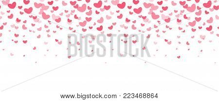 Love party decoration elements, falling red hearts. Wedding invitation, flyer, card border. Happy Valentines Day vector illustration on white background