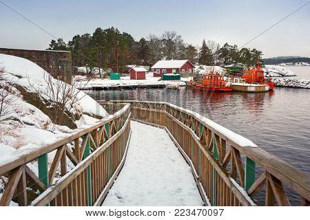 Baltic sea coast near Karlshamn in winter, Sweden