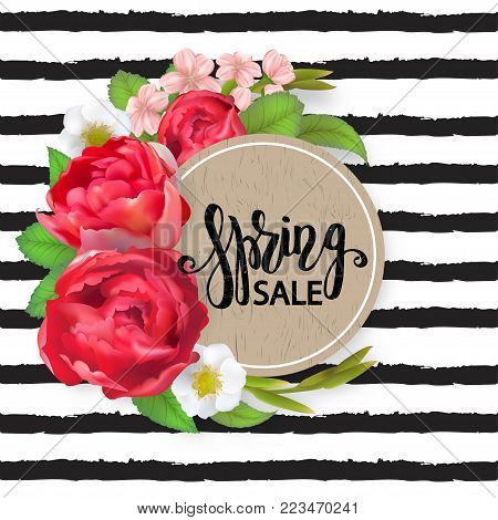 Blooming bouquet, floral vector frame with peony rose, cherry flowers, strawberry flowers, green leaves and buds. Crescent shape bouquet. All elements are isolated and editable. Spring sale text, striped background