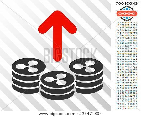Spend Ripple Coins pictograph with 7 hundred bonus bitcoin mining and blockchain pictographs. Vector illustration style is flat iconic symbols designed for blockchain websites.