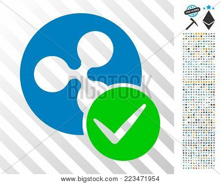 Valid Ripple Coin icon with 7 hundred bonus bitcoin mining and blockchain clip art. Vector illustration style is flat iconic symbols designed for bitcoin software.