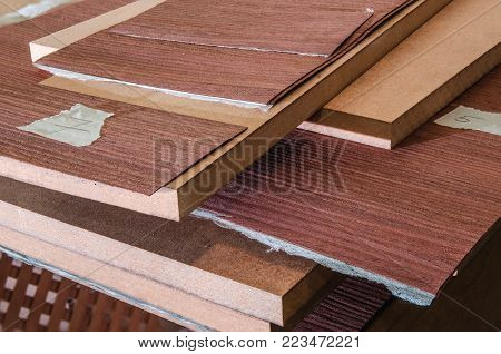 roll of oak veneer and furniture blanks for veneering