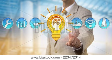 Unrecognizable management consultant presenting bright talent solution for the offshore oil and gas industry. Recruitment, business and technology metaphor for leadership, innovation and inspiration.