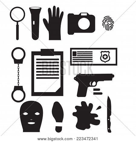 Detective occupation character design, cartoon silhouette black. Police Design elements and icons.
