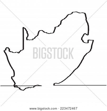 Map of South Africa. Continous line. Vector illustration