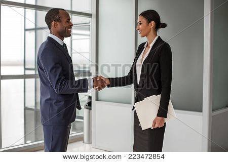 Make deal. Side view profile of cheerful young successful business partners wearing official clothes are standing opposite and shaking hands with smile