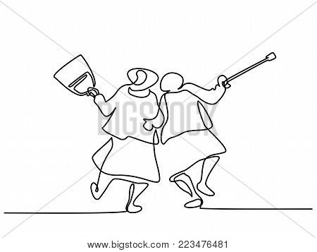Continuous line drawing. Elderly women friends walking and dancing. Vector illustration