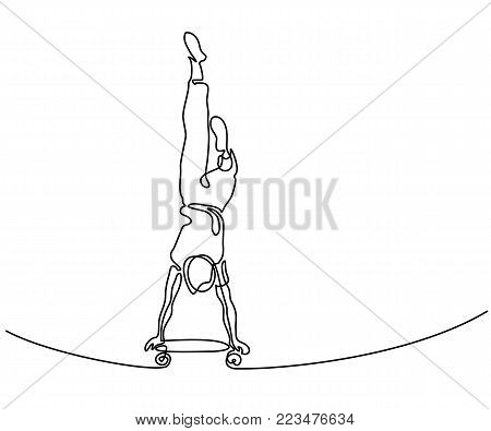 Continuous line drawing. Boy riding skateboard on hands. Vector Illustration