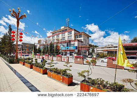 Shangri-La, China - September 24, 2017: City downtown, formerly called Zhongdian, renamed in 2001 after the fictional land in James Hilton novel Lost Horizon, to promote tourism in the area.