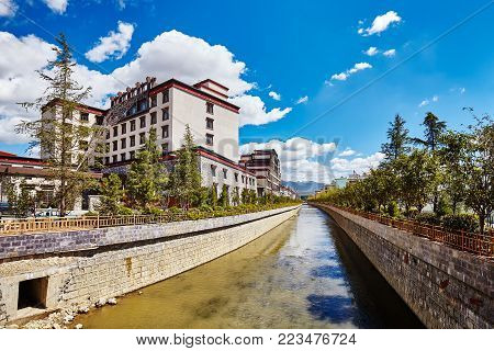 View of Shangri-La riverside on a sunny day, China.
