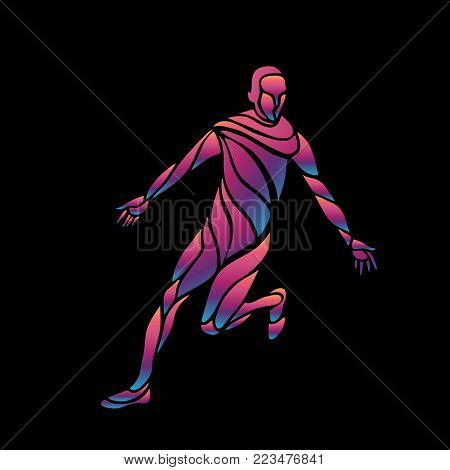 Football or Soccer player kicks the ball. The colorful vector illustration on black background.