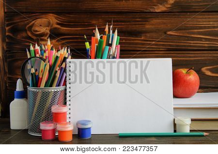 Set Of School Stationary For Creative Writing And Drawing, Copy Space, Back To School Concept