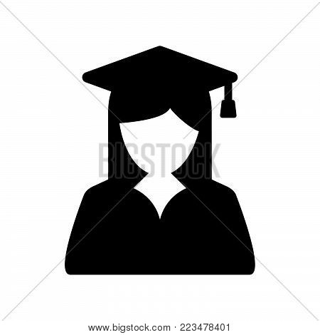 Graduate student icon isolated on white background. Graduate student icon modern symbol for graphic and web design. Graduate student icon simple sign for logo, web, app, UI. Graduate student icon flat vector illustration, EPS10.