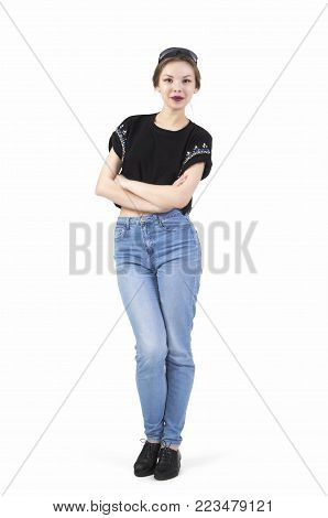 Young Girl Posing In Jeans.
