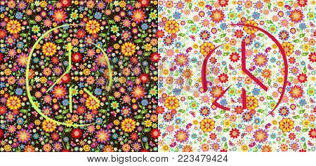 Flowers wallpapers with peace symbol