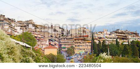 Panorama Of Thessaloniki Street , Greece