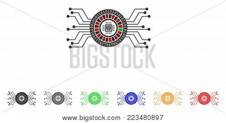 Digital Casino Circuit icon. Vector illustration style is a flat iconic digital casino circuit symbol with gray, yellow, green, blue, red, black color versions.