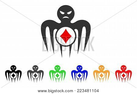Gambling Spectre Monster icon. Vector illustration style is a flat iconic gambling spectre monster symbol with gray, yellow, green, blue, red, black color versions.