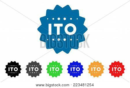 Ito Token icon. Vector illustration style is a flat iconic ito token symbol with gray, yellow, green, blue, red, black color variants. Designed for web and software interfaces.