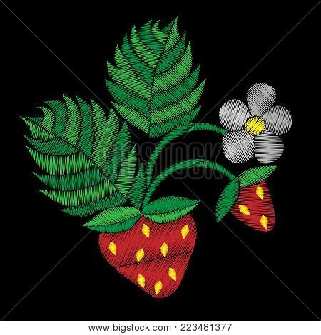 Isolated strawberry with flower embroidery stitches imitation. Fashion strawberry embroidery on black background. Embroidery style strawberry.