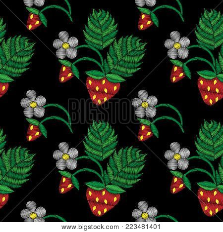 Seamless pattern with little strawberry and flower embroidery stitches imitation. Fashion strawberry embroidery on black background. Embroidery style strawberry.
