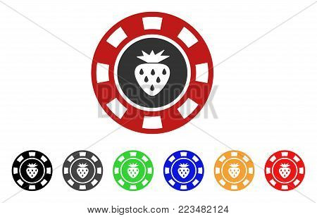 Strawberry Casino Chip icon. Vector illustration style is a flat iconic strawberry casino chip symbol with gray, yellow, green, blue, red, black color variants.