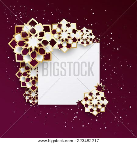 Greeting card with intricate Arabic paper graphic of Islamic geometric art. Concept for Ramadan (glorious month of Ramadan, muslim community festival)